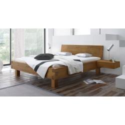 Lit futon / lit en bois massif noyer pin massif A10, avec sommier à lattes – dimensions 140 x
