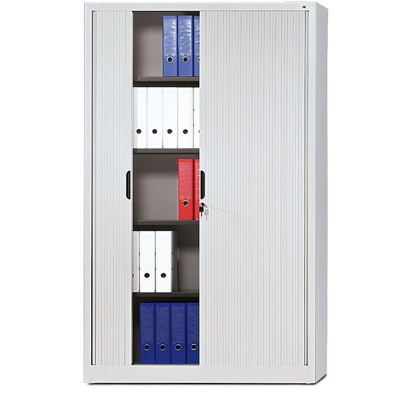 CP Armoire à rideaux à lames verticales – h x l x p 1980 x 1200 x 420 mm, 4 tablettes, 5 hauteurs classeurs – gris clair – CERTEO