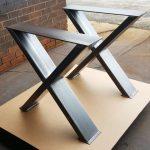 """Robuste, modèle # Heavy01, pieds de table à manger """"X"""", pieds en métal robuste, pieds industriels à partir de tubes de 6 """"x 2"""""""