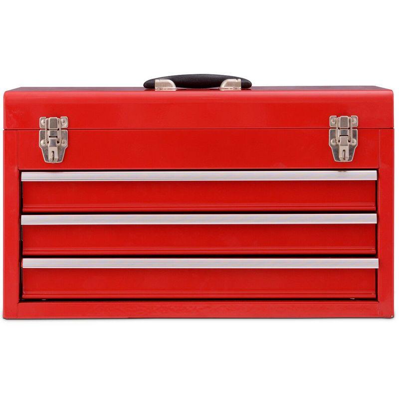 Boîte à Outils Coffret à Outils Rangement avec 3 Tiroirs 52×21,8x30cm Rouge – COSTWAY