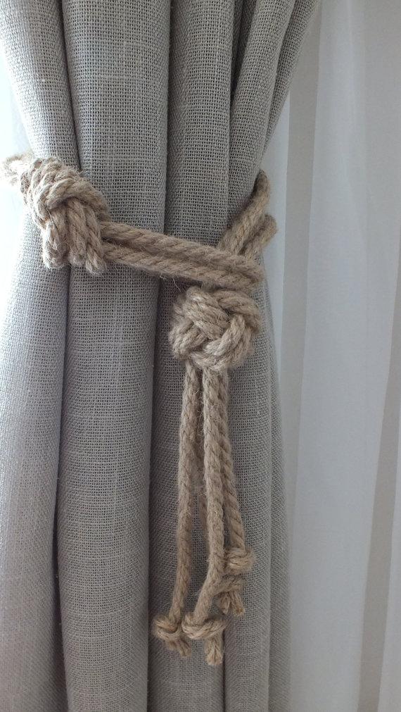 Attaches de rideau avec noeuds nautiques, Attache de rideau pour chambre de bébé, Attaches de rideau en jute, Crochets pour rideau de rideau, Attaches pour rideaux, Attaches pour rideaux