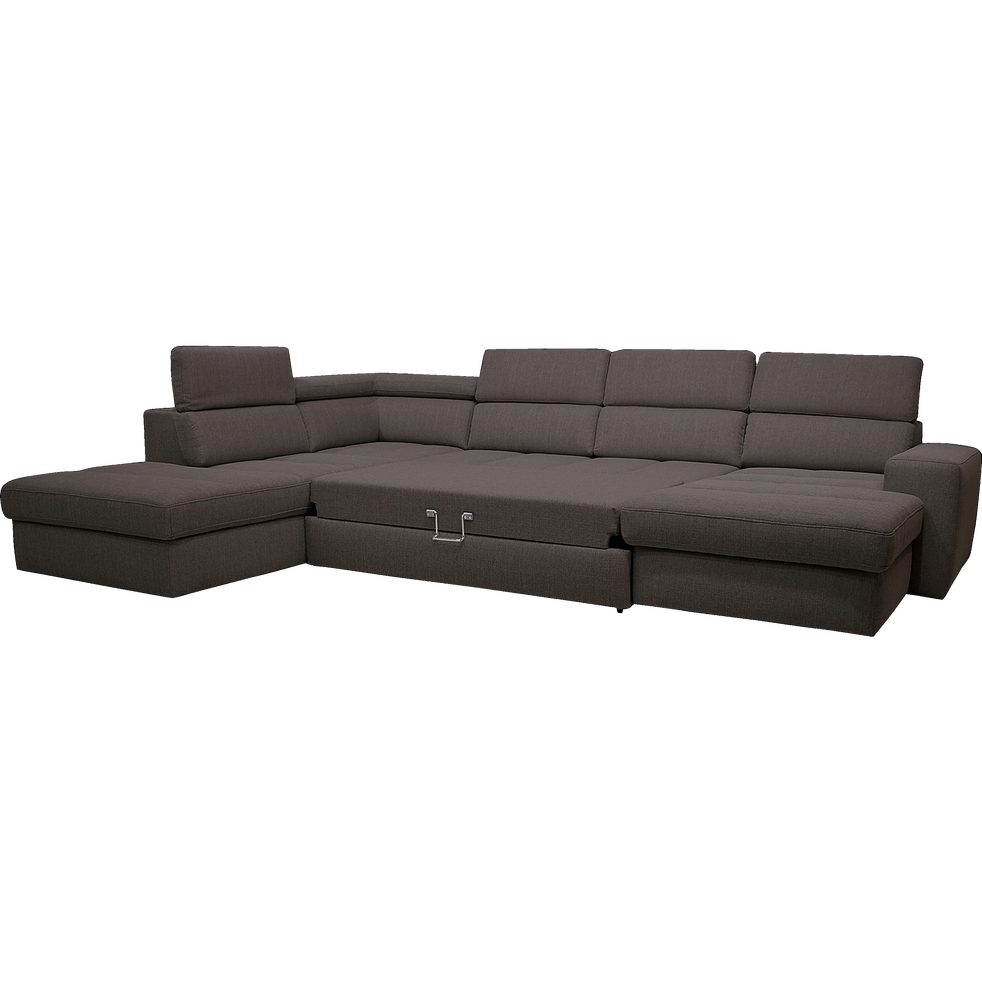 Canapé d'angle en forme de u convertible en tissu gris anthracite avec méridienne à droite – Alinéa