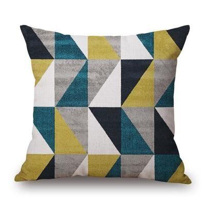 Decorative linge de coton mélangé canapé housse de coussin bleu et jaune Simp…