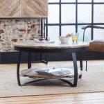 Table basse industrielle ronde bois et métal deux plateaux