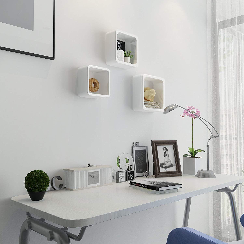 étagère mural bois récup cube design rangement  bibliothèque en bois