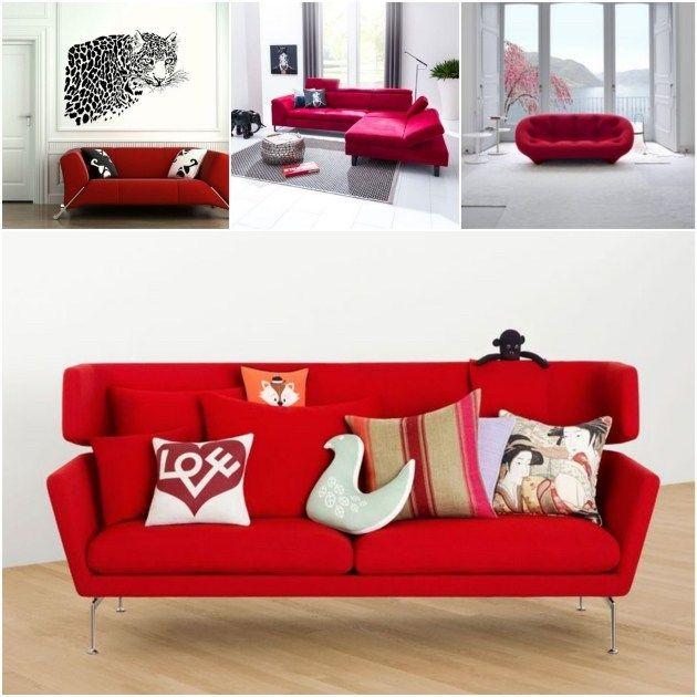 Quelle peinture quelle couleur autour d'un canapé rouge