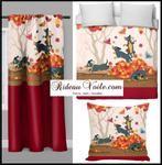 Tissu Style Empire motif Fleurs de Lys Or à rayures vert mètre rideau rayé