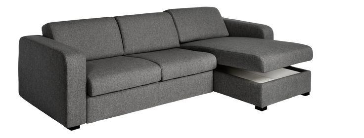 Porto 3 Canapé d'angle convertible et réversible 2 places en tissu avec rangement – Gris