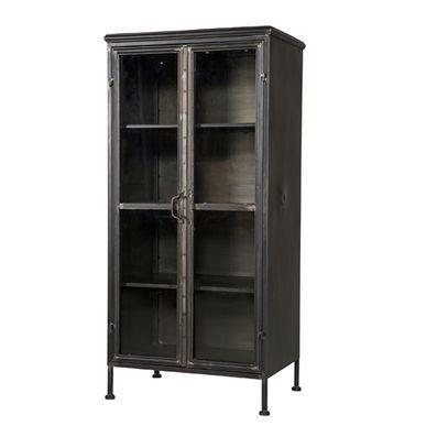 Vitrine bibliothèque en métal noir 2 portes Puristic