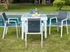 Salle à manger de jardin SALYAN en aluminium – une table extensible 90/180cm + 4 fauteuils – Assise anthracite