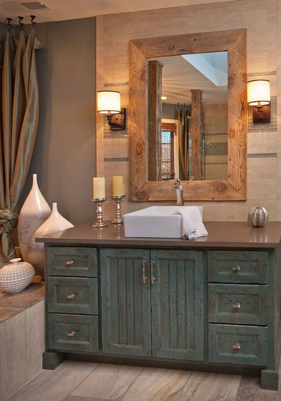 25+ superbes idées de vanité de salle de bains en bois patiné de style ferme – design résidentiel