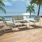 4pcs / set salon de jardin canapé set cadre en acier patio meubles de balcon arrière-cour # Fu