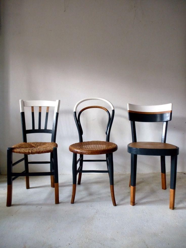 6 chaises Vintage Bistro Vintage avec un nouveau design en bois blanc