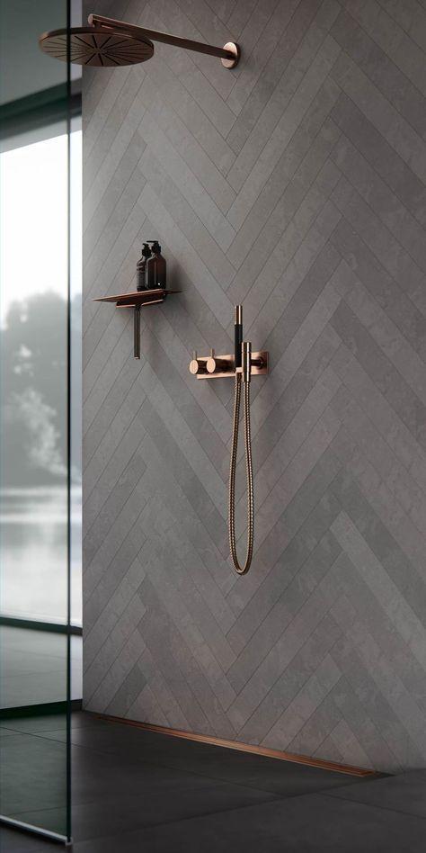 Accessoires de salle de bain en cuivre. Décor de salle de bain, idées et inspiration. Douche à l'intérieur – Izabella M