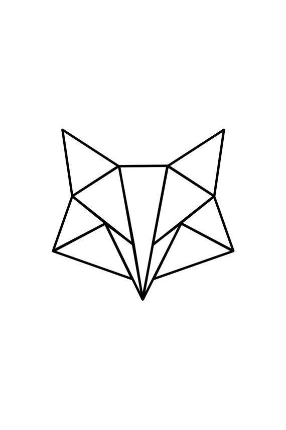 Affiche en téléchargement immédiat – Renard géométrique – Blanc – … – #Télécharger #fox #geometri …