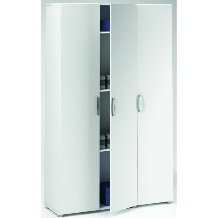 Armoire blanche multifonctions 3 portes, L 101 x H 175 x P 34 cm