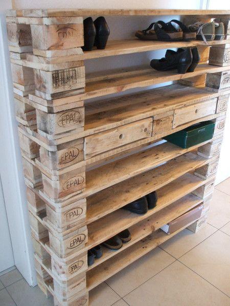 Armoires à chaussures – Une étagère à chaussures XXL faite de palettes! – un design unique de Woodful b …