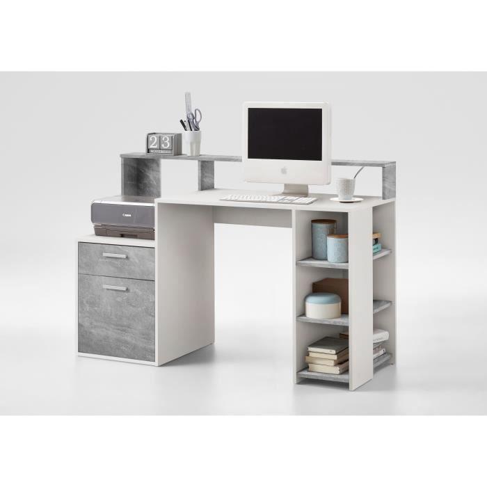 BOLTON Bureau contemporain blanc et gris effet béton – L 138,5 cm