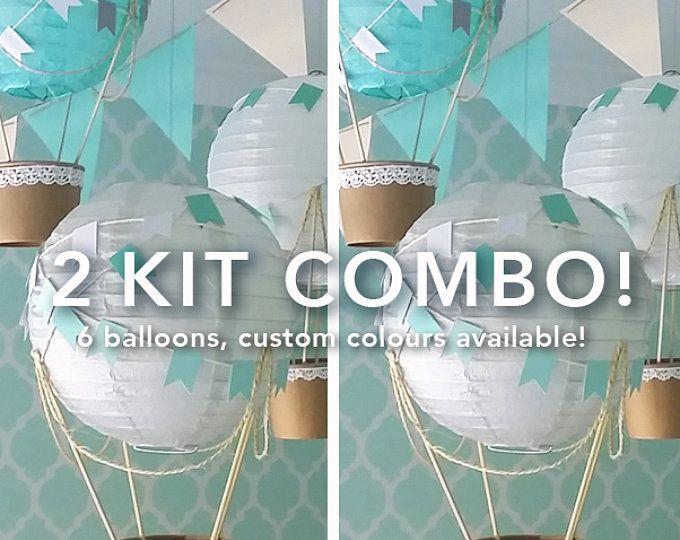 Ballon à air chaud décoration kit de bricolage, décor de pépinière de ballon à air chaud, décor de douche de bébé, infirmière bébé garçon