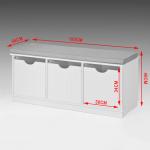 Banc de Rangement avec 3 cubes et coussin rembourré Meuble d'Entrée Commode à Chaussure Banquette confortable SoBuy® FSR30-W