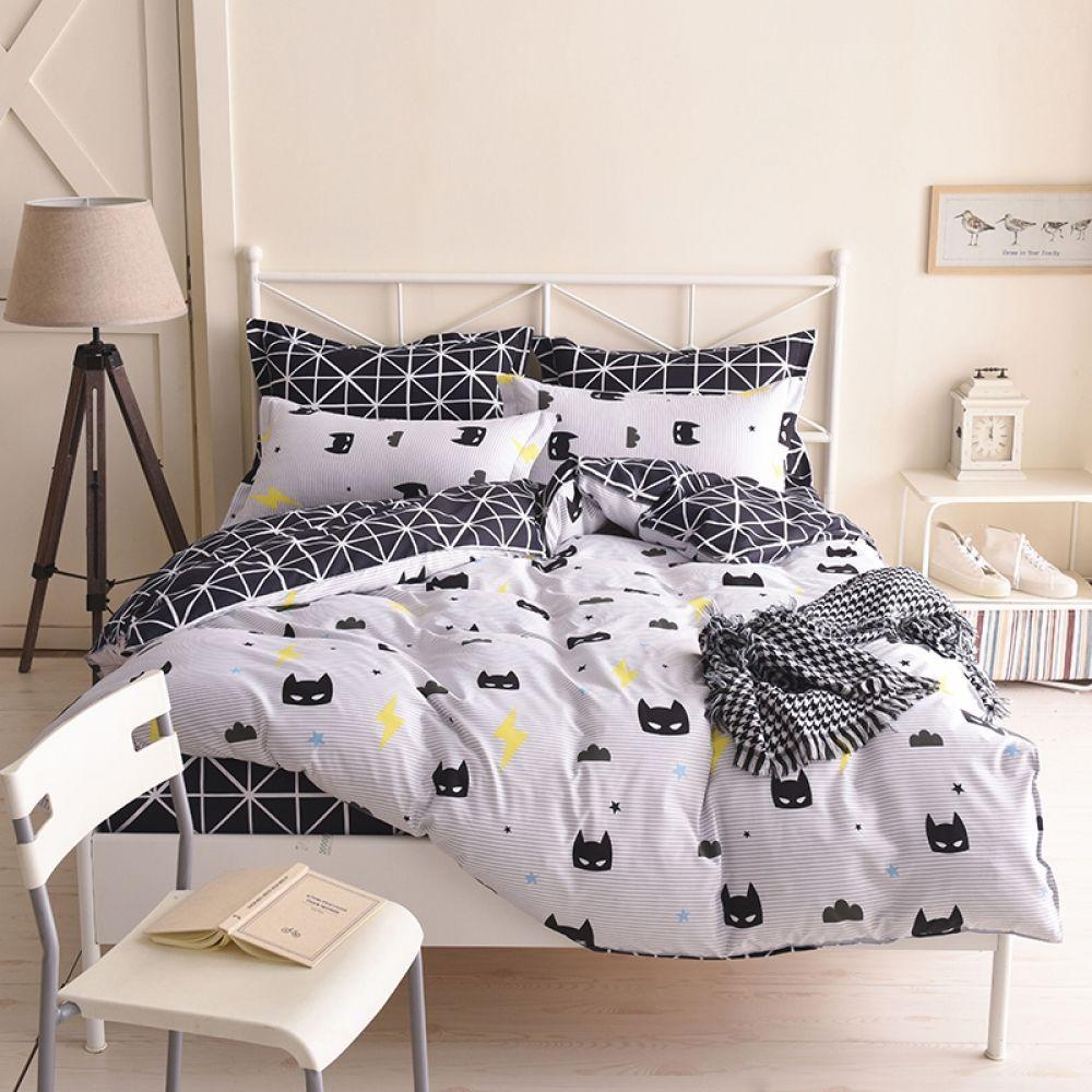 Batman Literie Ensemble Noir Couleur de Bande Dessinée Dessin Animé Duvet Cover Sheet Bed Cover Simple Full Queen King Size Literie Pour Enfants