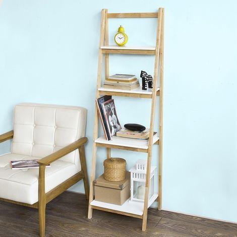 Bibliothèque Étagère pliable style échelle avec 4 niveaux de rangement FRG162-N SoBuy®
