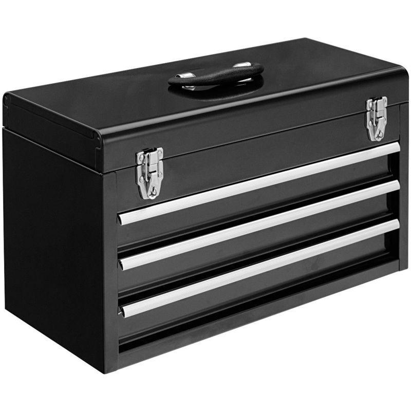 Boîte à Outils Coffret à Outils Rangement avec 3 Tiroirs 52×21,8x30cm Noir – COSTWAY