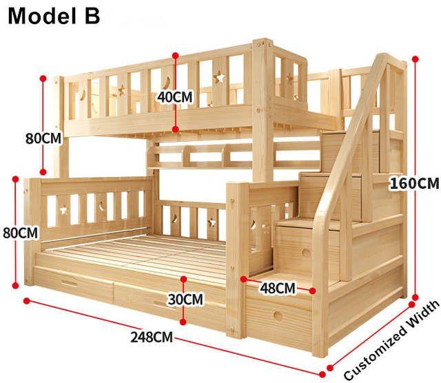 Boutique en ligne Louis Fashion Kids Lits superposés en bois de pin véritable avec tiroirs à escaliers en toute sécurité | Aliexpress Mobile – 11.11_Double-11Day Singles