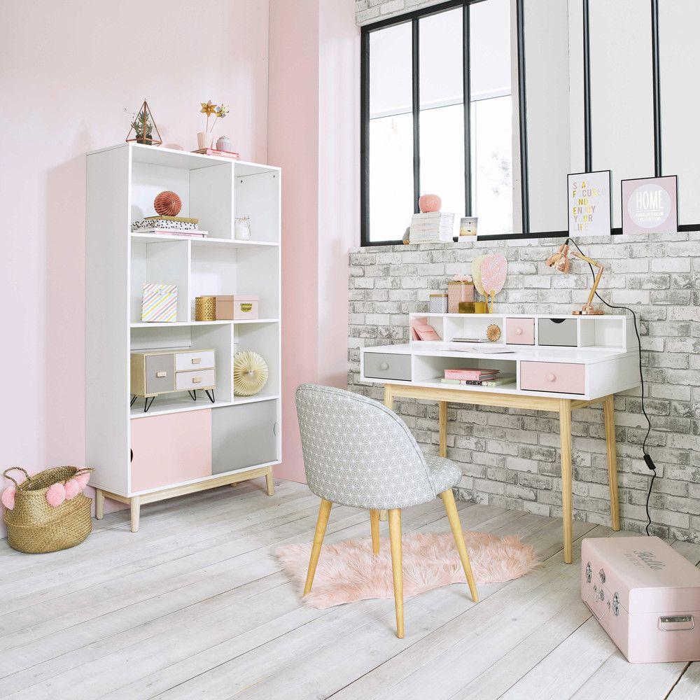 Bureau blanc de style vintage avec 2 tiroirs, gris et rose