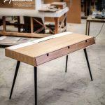 Bureau en bois de chêne, bureau, coiffeuse, bureau, Classic, Mid Century, Moderne, Tantik