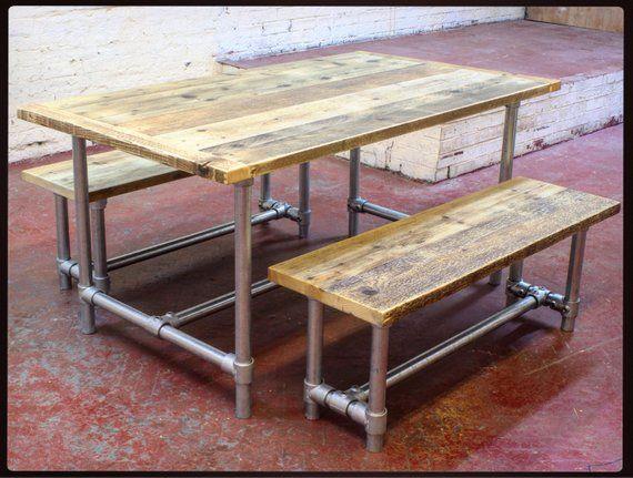 CLEMENTINE – France Table à manger en bois récupérée et bancs Bar Restaurant Cafe Coffee Shop Industrial Modern Loft Style Decor Meubles Sièges