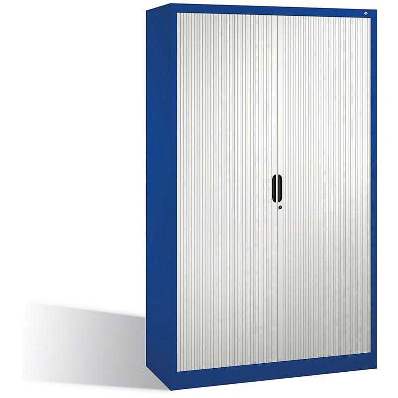 CP Armoire à rideaux à lames verticales, h x l x p 1980 x 1200 x 420 mm, 4 tablettes, 5 hauteurs classeurs bleu gentiane – CERTEO
