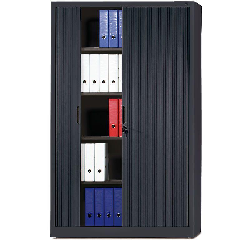 CP Armoire à rideaux à lames verticales – h x l x p 1980 x 1200 x 420 mm, 4 tablettes, 5 hauteurs classeurs – gris noir – CERTEO