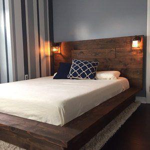 Cadre flottant de lit de plate-forme en bois avec la tête de lit lighted-Quilmes
