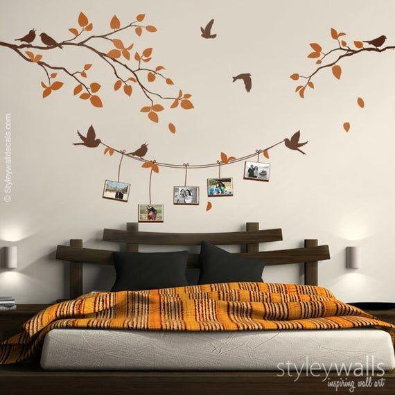 Cadres photo et sticker mural, branche avec oiseaux photo cadres photo sticker mural, cadres photo sticker nature autocollant décor à la maison
