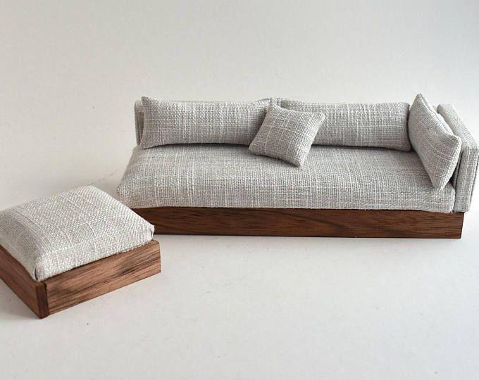 Canapé Canapé Chaise Moderne Miniatures échelle 1:12 Maison de poupées blanche et grise texturée …