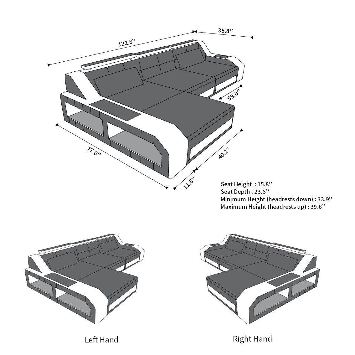 Canapé composable en cuir Houston L Shape