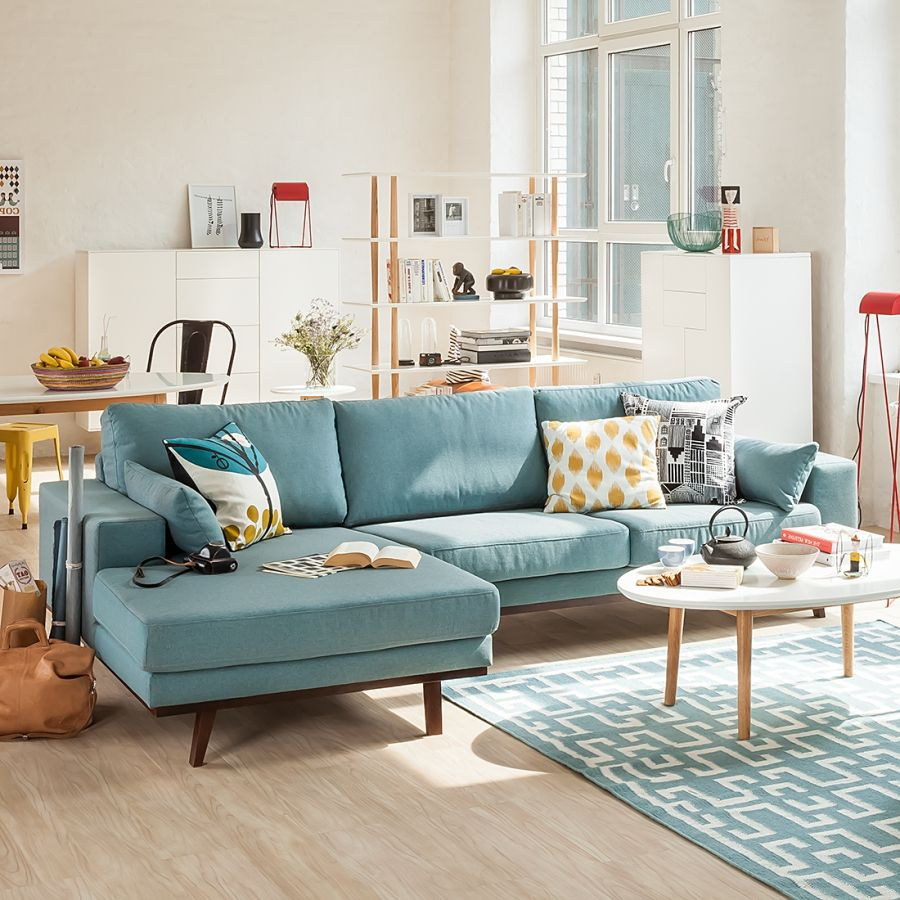 Canapé d'angle Billund en bleu aqua frais