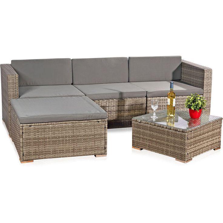 Canapé en rotin, sièges gris, mobilier de jardin, Salon, ens…- Canapé en ro…