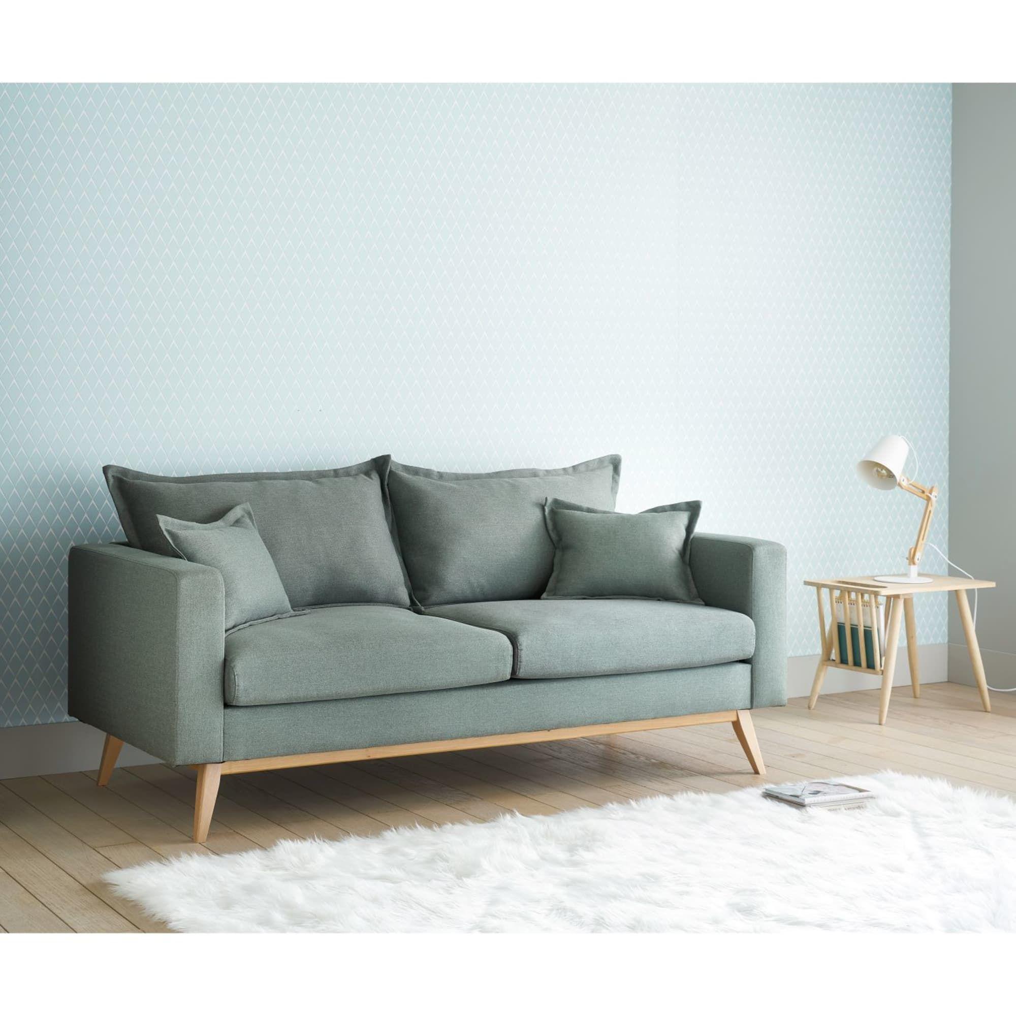 Canapé gigogne 3 places en tissu gris clair