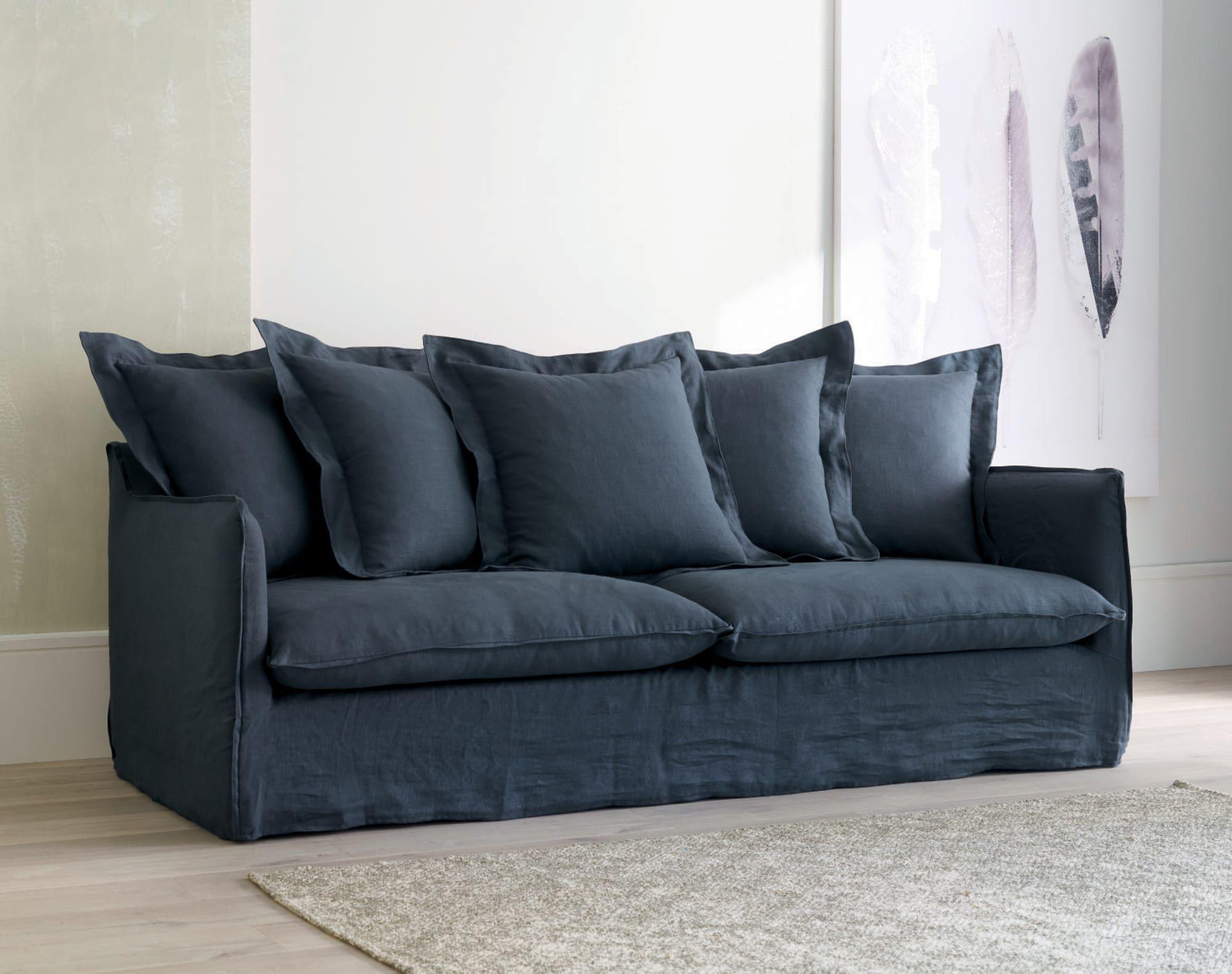 Canapé-lit 3/4 places en lin lavé bleu encre