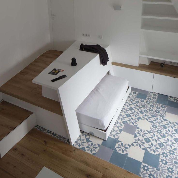 Canapé-lit avec dossier – #Storage #with … – #Ablage #mit #Podest