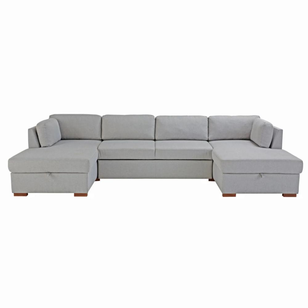Canapé-lit panoramique 7 places gris clair