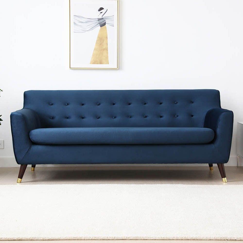 Canapé velours 3 places bleu Charlotte Concept Usine – Canapé Concept Usine
