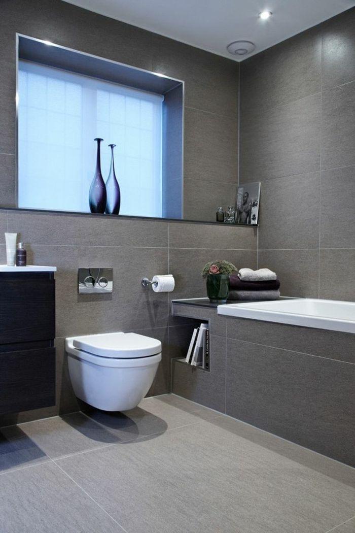 Carrelage gris pour la salle de bain – 61 photos qui vont vous impressionner!