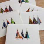 Cartes de Noël faites maison - motifs uniques, tissu à imprimé africain (vendu à l'unité ou par lot de 6)