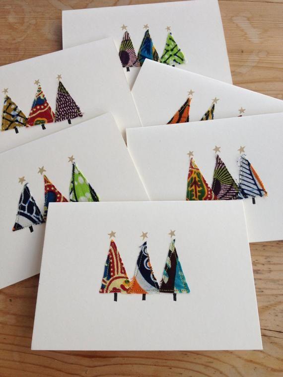 Cartes de Noël faites maison – motifs uniques, tissu à imprimé africain (vendu à l'unité ou par lot de 6)