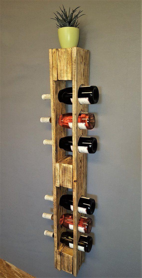 Casier à vin vintage porte-bouteilles flambé porte-bouteilles de vin étagère murale étagère suspendue étagère palette rack palette meubles bar étagère en bois Shabby