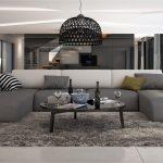 Ce grand canapé d'angle en U conférera à votre salon moderne un look irrésis...