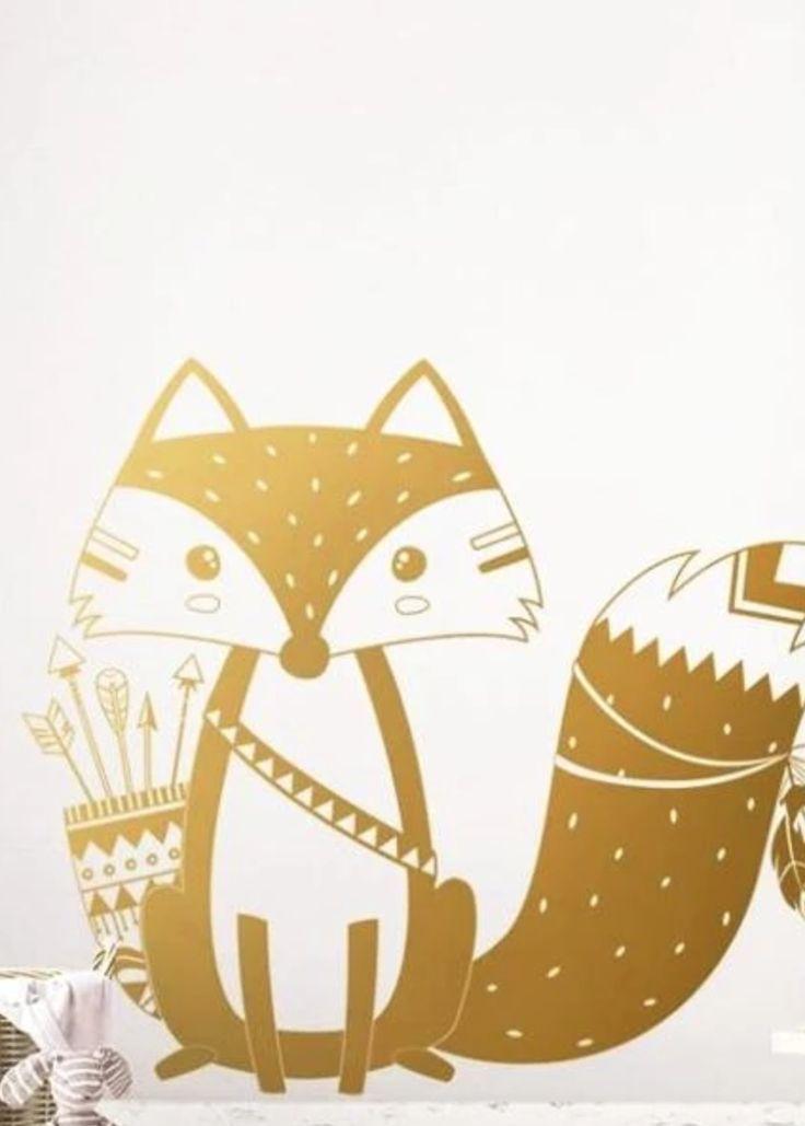 Ce sticker mural renard indien va donner vie aux murs de la chambre de bébé.  …